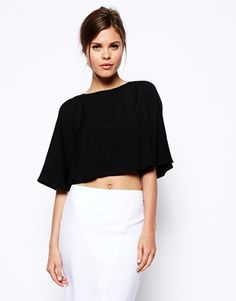 Enlarge ASOS Kimono Sleeve Crop Top (black white and just right)
