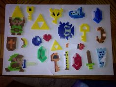 Legend of Zelda items out of Perler Beads
