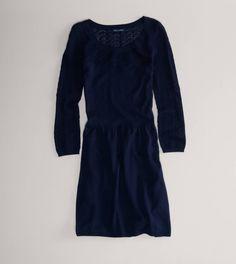 Cream AE Crocheted Sweater Dress