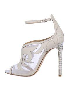 White Brian Atwood sheer pumps with leather counters and details, peep toes, side buckle closure and silver-tone croc-embossed covered heels...