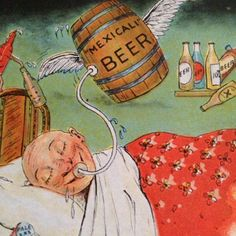 Vintage-Funny-Postcard-Drinking-Beer-Cartoon-Drunk-Man-With-Keg-Tijuana-Mexico