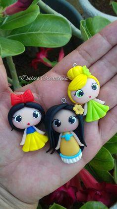 Princesas en Porcelana Fría. Blanca Nieves,Pocahontas y Campanita. Hechas por Mary Reyes De Dulces Creaciones