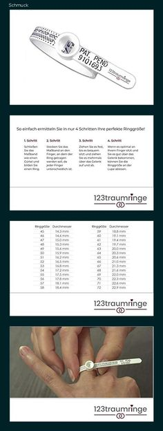 Ringmaßband/Ringgrößenmesser mit ausführlicher Anleitung von 123traumringe - Bestimmen Sie Ihre Ringgröße selbst! - 14h1 Band, Knives, Ring, Tutorials, Schmuck, Sash, Bands