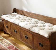 Wade Tufted Bench Cushion, Large, Solid, Natural pottery barn