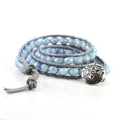 Denim Blue Wrap Bracelet Gray Leather Wrap by AbacusBeadCreations, $46.00