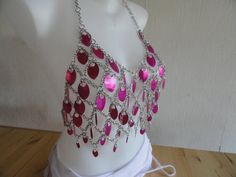 chainVmail candy-pink custom lightweight chainmail tanktop for LARP RP bellydance fantasy party festival geekery fairy   chainmaille chain mail maille