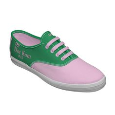 Alpha Kappa Alpha customized pink and green Keds