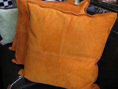 Euro size orange suede pillows!