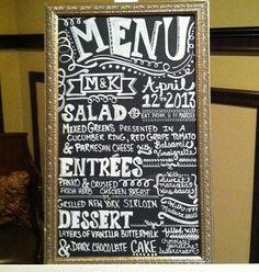 Our chalkboard menu!