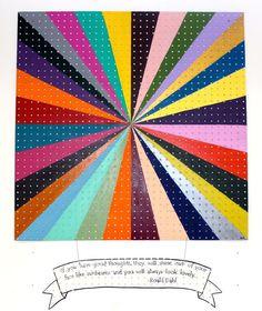 diy pegboard art. rainbow colors. vanishing point. roald dahl quote. diy art. painted pegboard.