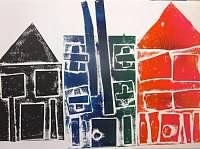 Lakeside Art - Kindergarteners Learned about using others art work to help create their own!  They each printed their own house and then added two friends in color to be part of their 'neighborhood'.  Students were introduced to collaging and printmaking.