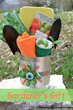 """Great for Mother's Day, Spring Teacher Gifts, Neighbor Gifts! """"Dollar Store Gardener Gift and A DIY on how to make a flower from a glove."""" via Chaotically Creative #garden #gift"""