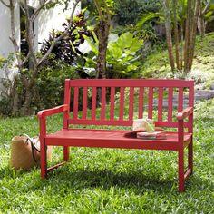 Acacia 2 seater garden bench in red W 120cm