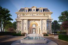 Villas on Behance Villa Design, Facade Design, Exterior Design, House Outside Design, House Front Design, Luxury Homes Exterior, House Plans Mansion, Neoclassical Architecture, Architecture Interiors