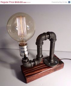 Edison Lamp / Rustic Decor / Unique Table Lamp / Industrial Lighting / Steampunk Light / Housewarming / Gift for Men / Night Side Pipe Lamp / Desk Accessory - All For Decoration Edison Bulb Table Lamp, Lampe Edison, Edison Bulbs, Steampunk Table, Lampe Steampunk, Pipe Lighting, Industrial Lighting, Industrial Pipe, Industrial Style
