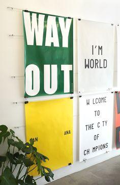 Way Out, Bananasplit, I'm world & Welcome to the city of champions Playtype posters