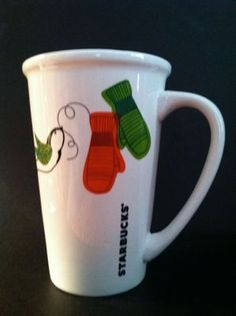 Starbucks Coffee Mug Large Mittens Bird White 21 oz Holiday 2011