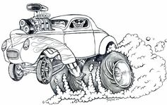 Hot Rod Coloring Pages Adult - Bing images Cartoon Car Drawing, Cartoon Kunst, Comic Drawing, Cartoon Pics, Cartoon Art, Cool Car Drawings, Art Drawings Sketches, Race Car Coloring Pages, Ed Roth Art