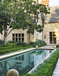 Doheny Mansion Beverly Hills reflecting pool. Veranda
