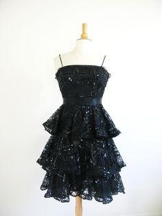 Vintage 1980's I. Magnin Peplum Dress