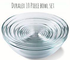 Duralex Stackable Glass Bowls. 10 Piece set. $41.95 #mightynest