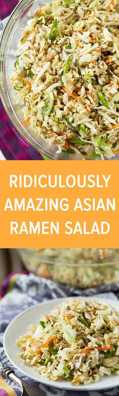 This ridiculously amazing Asian ramen salad will have you and your guests going . - This ridiculously amazing Asian ramen salad will have you and your guests going back for thirds and - Summer Recipes, New Recipes, Vegetarian Recipes, Dinner Recipes, Cooking Recipes, Favorite Recipes, Healthy Recipes, Recipies, Easy Potluck Recipes