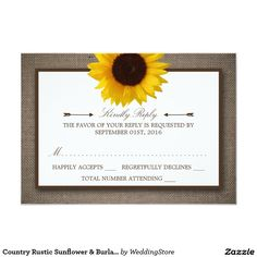 Country Rustic Sunflower & Burlap Wedding RSVP Card