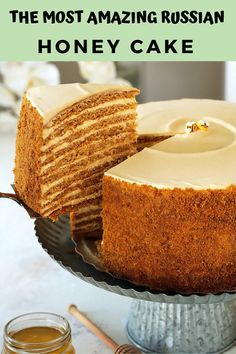The ultimate recipe for Russia's famous Honey Cake, that you're likely to encounter. Ten layers of soft, caramelized honey cakes that taste like the fine marriage of Lotus biscuits, honey graham crackers and gingerbread cookies, sandwiched between a cloud Beaux Desserts, Just Desserts, Delicious Desserts, Baking Recipes, Cake Recipes, Dessert Recipes, Honey Recipes, Healthy Recipes, Cupcakes