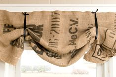 DIY balloon shades made from coffee sacks - can purchase from Ebay