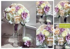 Wedding flowers: NEW bride bouquet comprises vintage purple delphiniums, champagne roses, white hydrangea and long roses. Order from us! www.facebook.com/LemongrassWedding