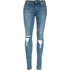 Skinny Destroyed Jean ($210) ❤ liked on Polyvore featuring jeans, trousers, ripped jeans, super skinny jeans, distressed jeans, skinny fit jeans and blue jeans
