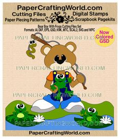 Bear w Frogs n' Fishing (SVG & Other Formats) Cutting File Set. Direct Link: http://www.papercraftingworld.com/item_929/Bear-Boy-or-Girl-w-Frogs-CF-SET.htm