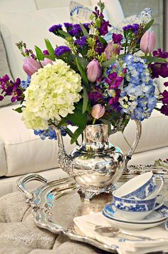 Flowers and Silver ~ A Book Cover Inspiration French Country Decorating, Flower Centerpieces, Dinner Table, Tablescapes, Flower Power, Floral Arrangements, Beautiful Homes, Tea Pots, Glass Vase