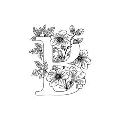 'Floral letter B' Art Print by GloriannaCenter Letter B Coloring Pages, Colouring Pages, Adult Coloring Pages, Coloring Sheets, Coloring Books, Embroidery Designs, Floral Embroidery Patterns, Wall Painting Decor, Embroidery Alphabet
