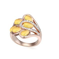 Zinc Alloy #Finger #Ring, with #Cats Eye, rose gold color plated,yellow http://www.beads.us/product/Zinc-Alloy-Finger-Ring_p259446.html?Utm_rid=194581