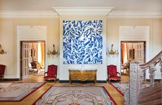 In the May/June 2016 isssue, a recent #renovation, by Quinn Evans Architects, brings fresh, #modern #accents to the French ambassador's historic residence in Washington. In the #entrance #hall, abstract #art by Simon Hantaï is paired with a Louis XV-style #commode. #interior #design #architecture #design #fine #art #private #tour