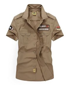 Cheap cargo shirt, Buy Quality mens cotton shirts directly from China short sleeve shirt Suppliers: Plus Size Summer Brand Men's Cotton Shirts Military Solid Color Dress Short Sleeve Shirt Men Casual Camisa Cargo shirt Cotton Shirts For Men, Casual Shirts For Men, Men Casual, Military Fashion, Military Shirt, Military Army, Shirt Men, Cargo Shirts, Manish