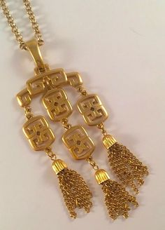 Rare CROWN TRIFARI Huge Gold Tone Asian Style Pagoda Waterfall Pendant W/ Tassels Rolo Chain Vintage Designer Women's Jewelry Estate Piece by VintagePolice4U on Etsy