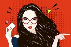 Arte Pop, Desenho Pop Art, Girly Images, Pin Up, Vector Pop, Retro Girls, Illustration, Cartoon, Long Hair Styles