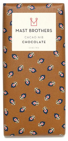 Mast Brothers Cacao Nibs - 73% with nibs.  Beautiful chocolate with the added crunch and bright fruity taste of cacao nibs.  Beautifully packaged, as are all Mast Bros. chocolates.  Love!!