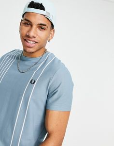Fred Perry refined pique striped t-shirt in blue Fred Perry, Chef Jackets, Crew Neck, Short Sleeves, Weather, Embroidery, Logo, Fitness, Cotton