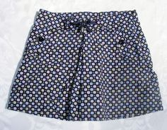 GYMBOREE Printed Skirt, Navy Blue Pokadots Petite Mademoiselle 100% Cotton Sz 8 #Gymboree
