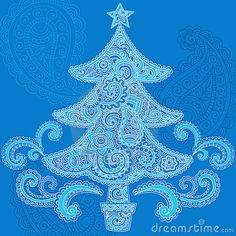 Christmas Tree Henna Paisley Doodle Design by Blue67, via Dreamstime