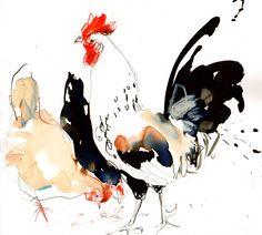 """Saatchi Online Artist: Lucy Newton; Mixed Media """"hens"""""""