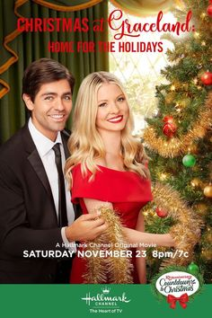 "Learn more about the cast of the Hallmark Channel original movie, ""Christmas at Graceland: Hope for the Holidays starring: Kaitlin Doubleday, Adrian Grenier and Priscilla Presley. Películas Hallmark, Films Hallmark, Hallmark Channel, Graceland, Family Christmas Movies, Hallmark Christmas Movies, Holiday Movies, Family Movies, Xmas Movies"