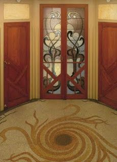 Art Nouveau Doorway and Carpet by Victor Horta