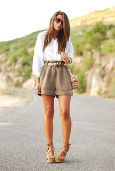 summer outfit. beige belted shorts, white blouse, wedge sandals #style