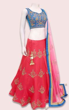 Navratri Special Rose Pink And Blue Color Nura Silk Fabric Embroidered Lehenga Choli Freshen up your majestic look in this navratri festival with this navratri special rose pink and blue lehenga choli. Get this beautiful embroidered lehenga to infuse a un Lehenga Gown, Lengha Choli, Party Wear Lehenga, Lehenga Suit, Saree, Bridal Lehenga Online, Lehenga Choli Online, Kurta Designs Women, Blouse Designs