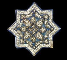 tile Museum number G.489 Description Tile (star). Quránic inscription around edge. Made of lustre glazed and cobalt, turquoise stained and incised ceramic, pottery. Culture/period Islamic Date 14thC(early) Findspot Found/Acquired: Kashan (Asia,Iran,Central Iran,Isfahan (province),Kashan)