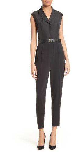 Women's Ted Baker London Natoly Belted Mixed Media Jumpsuit
